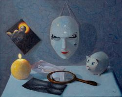 STILL LIFE WITH CANDLE AND MASK by JJonesJr69