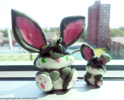 Bunny and Mini Bunny charms by SeangelSaph