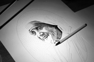 Mother Teresa in progress by DanielPoint