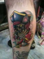 Neo-Traditional Pirate Cat Tattoo by Nelby2388