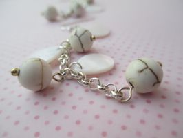 White Turquoise and Shell Teardrops earrings by ExinaArt