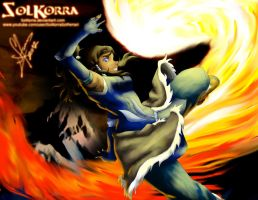 Korra Firebending in The South Pole by SolKorra