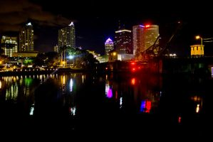 Downtown Tampa at Night by blackasphyxia