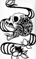 skull and lotus flowers by nullbomb
