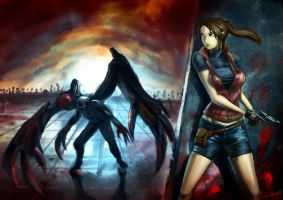 Claire Redfield Vs William Birkin by Teal-Lorca