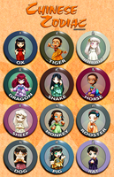 Chinese Zodiac Girls - Buttons by ghostfire