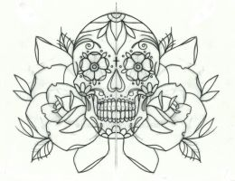 Sugar candy skull and roses tattoo design by thirteen7s