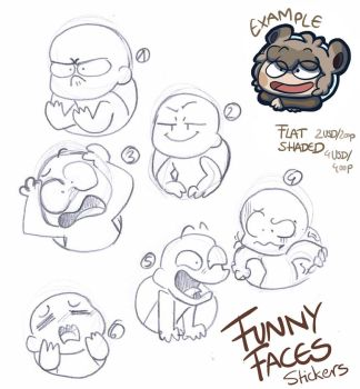 Funny Faces Stickers YCH *CLOSED* by LeniProduction