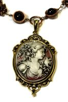 Steampunk Necklace - Dark Hazy Red Portrait Cameo by CatherinetteRings