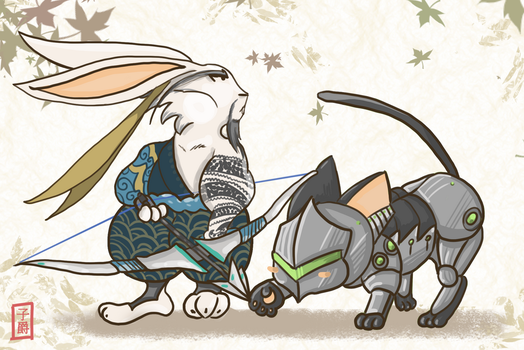 Hanzo Rabbit and Genji Cat by Amely14128