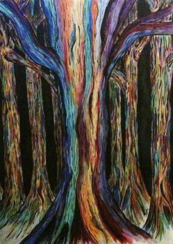 Rainbow Eucalyptus Forest by BettyBoopEyes