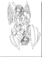 Ying Yang Wings Lineart by TROgirl