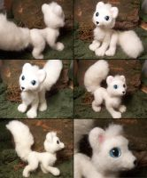 Posable arctic fox felted plush by SnowFox102