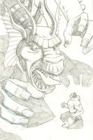 Hulk vs. Fin Fang Foom cover pencils 2 by mistermuck
