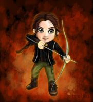 Chibi Katniss - The Hunger Games by tstelles
