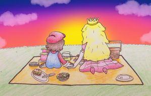 Requested- Mario's and Peach's picnic date by MiniDragonfly