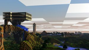 [Rendered|1080p] Minecraft Landscape with Skytower by SyncedsArt