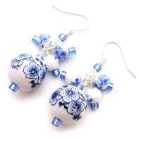 Blue Porcelain Earrings by fairy-cakes