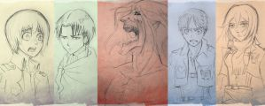 Attack On Titan Sketches by bluespottedfrog