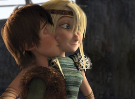 Hiccup Kisses Astrid by lilgerndt