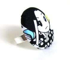 Big button ring black white manga kawaii girl by KooKooCraft