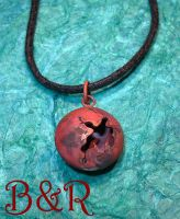 Copper Patina Cracked Pendant by Utinni