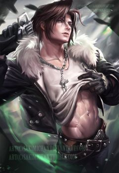 Squall pinup . nsfw optional. by sakimichan