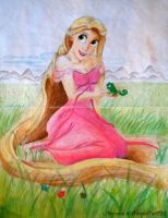 Rapunzel in the Meadow (wearing Giselle's Dress) by x12Rapunzelx