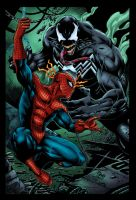 Spiderman Vs Venom Colored by likwidlead