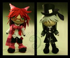 Grell and Undertaker in Wonderland by pheleon