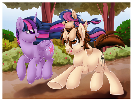 Twilight Sparkle X Peter Parker - Running with May by Jamal2504