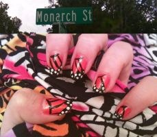 Monarch Butterfly Nail Art by MissDaniLips