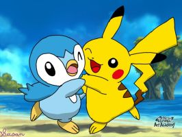 Pokemon Art Academy- Piplup and Pikachu by SusanLucarioFan16