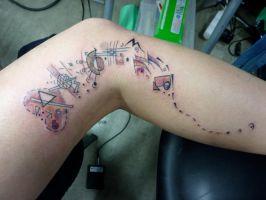 abstract leg piece by whiterabbittattoo