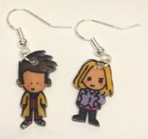 10th Doctor and Rose earrings by Lovelyruthie
