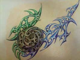 Spiral and Tribal design by DREAMandDIFFER