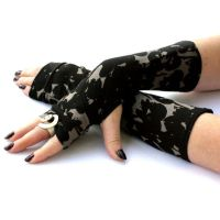Black Camo Arm Warmers , Fingerless Gloves by WearMeUp