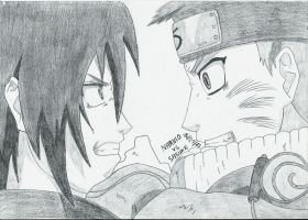 Naruto vs Sasuke (Valley of the end) by Haku-in-the-snow
