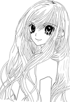 Anime Girl Long Hair Lineart by loitumachan