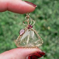 Rutilated Quartz and Garnet Autumn Vine Pendant by magpie-poet