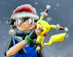 Ash and Pikachu - Christmas by shadowhatesomochao