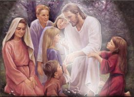 Jesus and the children by striderjack