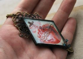 Finished Glass Sacred Heart Necklace by asunder