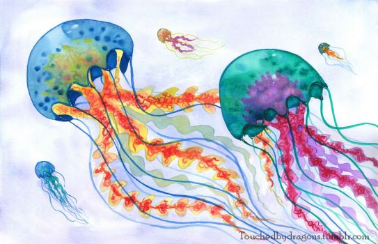 Watercolour Jellyfish by TouchedbyDragons
