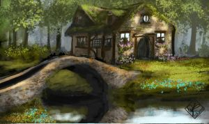 Cottage with Bridge by jjpeabody