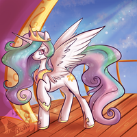 Princess Celestia Shadocon Print by BlueKazenate
