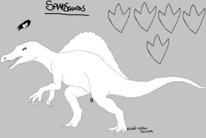 Spinosaurus Lineart by wolf-wishes