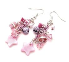 Pink Star Earrings by fairy-cakes