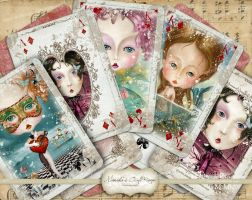 Digital Playing Cards ATC Charming Ladies by mimikascraftroom