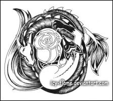 Dragon-Fox-Rose tattoo by Icy-Flame